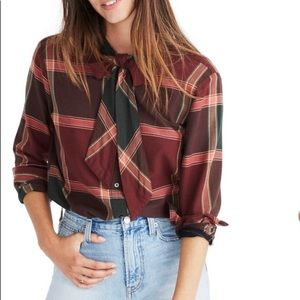 MADEWELL   plaid tie neck top small